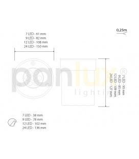 GALIA přisazené stropní a nástěnné kruhové svítidlo | 75W E27, stříbrná, transp.