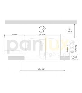 AIGLOS zářivkové nábytkové svítidlo s vypínačem pod kuchyňskou linku | 13W, aluminium, stříbrná