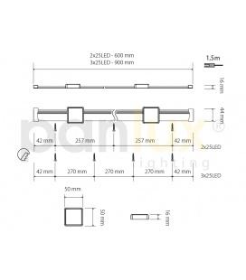 LARA DUO designová stolní COB LED lampa | stříbrná - teplá bílá