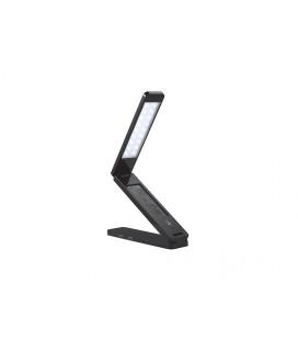 USB LED multifunkční stolní LED lampička s displejem a pasivní USB HUB  černá