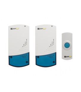 PANLUX ZVONEK bezdrátový - SADA: 2 reproduktory a 1 tlačítko, bílo-modrá