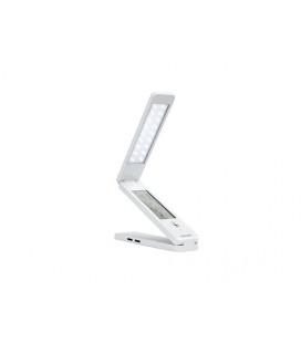 USB LED multifunkční stolní LED lampička s displejem a pasivní USB HUB  bílá