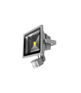 LEDMED COB LED VANA S venkovní reflektorové svítidlo se senzorem, aluminium - neutrální  20W