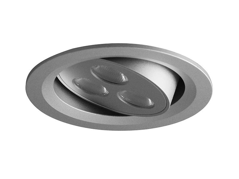VÝKLOPNÝ PODHLED KULATÝ 3LED, stříbrná (aluminium)  3 LED - studená bílá