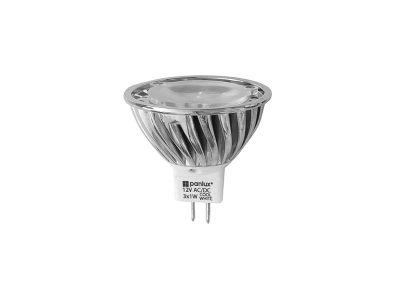 HIGH POWER 3LED světelný zdroj  12V 3,6W GU5,3 - studená bílá