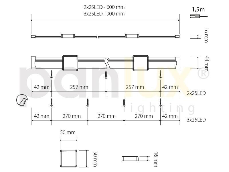 MAYOR nábytkové svítidlo  3x25LED - studená bílá