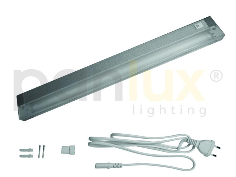 AIGLOS zářivkové nábytkové svítidlo s vypínačem pod kuchyňskou linku  13W, aluminium, stříbrná