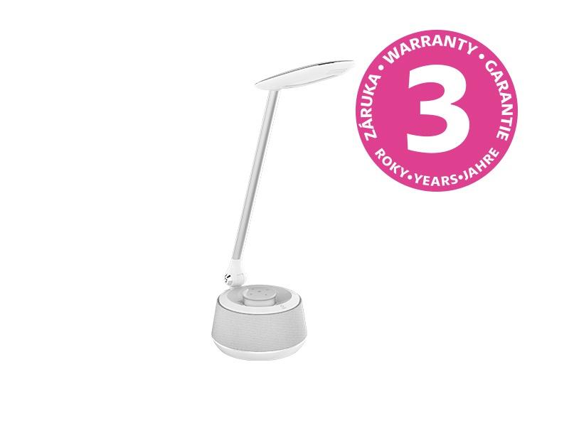 PANLUX MOANA MUSIC LED stolní lampička s bluetooth reproduktorem, bílá - neutrální